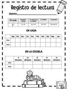 Registro de Lectura Spanish Teaching Resources, Reading Resources, Reading Strategies, Teaching Tips, Teaching Reading, Spanish Worksheets, School Items, Classroom Language, Pre Writing