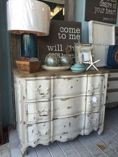 Distressed wood cabinet from Cottage Furnishings. Distressed wood, shabby chic, nautical, beach, beach life, coastal, coastal cool, beach cottage, beach house