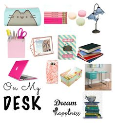 """""""What would be on my desk"""" by marinarey11 ❤ liked on Polyvore featuring interior, interiors, interior design, home, home decor, interior decorating, Pusheen, Dale Tiffany, Umbra and FabFunky"""