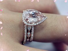 3 Ring Sets-14K Rose Gold 12x8mm Pear Morganite Ring with 2 Matching Band Engagement Wedding Band Ring Morganite Ring Sets