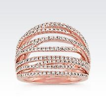 Crossover Diamond Ring with Pavé-Setting in 14k Rose Gold Image