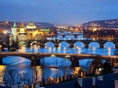 Bridges of Prague, Czechia #bridge #night #Prague #Czechia