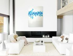 'Crystallation', a modern art piece and a beautiful white on white room.