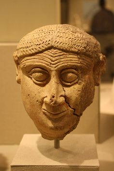 An Exceptional Old Babylonian Ceramic Head of a Male ca 2000-1600 BCE,from Southern Mesopotamia.