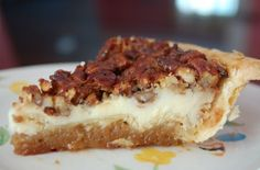 Pecan Cream Cheese Pie - 8 oz cream cheese softened, 1/2 c sugar plus 3 T, 4 eggs, 2 t vanilla, 1/4 t salt, 1 deep-dish pie shell, 1 1/4 c pecan pieces, 3/4 c corn syrup, 3 T melted butter.