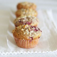 Chocolate berry muffins with nut topping
