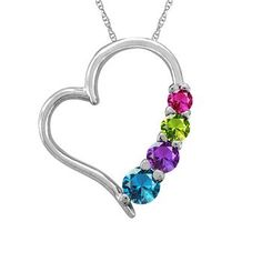 This Elegant Heart Mother-Family Gemstone Pendant can be personalized with up to 6 enchanting round gemstones. Sku: ME-F198 Price : $281.99