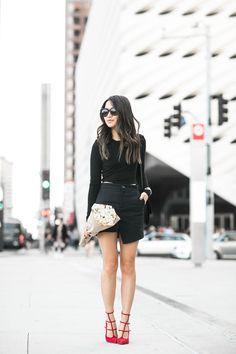 All Black :: Cropped top & Asymmetric skirt