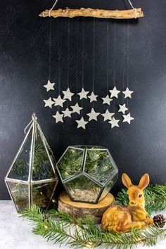 Make this star wall hanging with air dry clay, string, and a branch