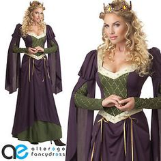 ADULT-LADIES-LADY-IN-WAITING-FANCY-DRESS-COSTUME-MEDIEVAL-RENAISSANCE-OUTFIT