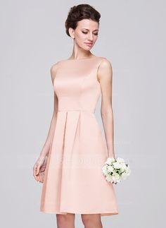 A-Line/Princess Scoop Neck Knee-Length Satin Bridesmaid Dress With Ruffle (007060562) - JJsHouse