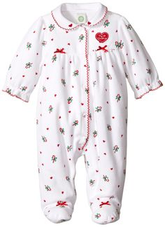 Amazon.com: Little Me Baby-Girls Newborn Candy Cane Velour Footie: Clothing