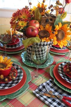 -fall table display incorporating the red and black check I use for Christmas.would make the transition smoother from Thanksgiving Fruits Decoration, Decoration Table, Reception Decorations, Beautiful Table Settings, Fall Table, Thanksgiving Table, Deco Table, Buffets, Fall Harvest