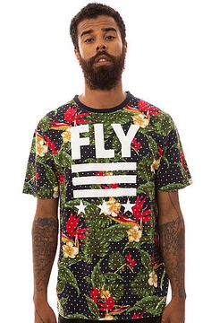 The Born Fly Floral Tee in Navy by Born Fly