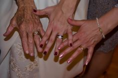 Fun wedding picture: 3 generations of wedding band hands
