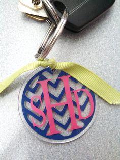 2 Monogrammed Acrylic Keychain by VinylMePrettyTN on Etsy, $5.00