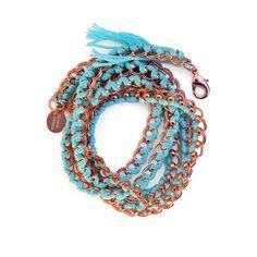 Armband Wrap Aquablau Kupfer, 85€
