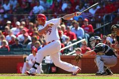Matt Holliday hits an RBI double against the Colorado Rockies in St. Louis... third inning. Cards won 4-1. 9-14-14