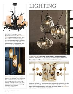 Bridge For Design magazine - Our Deco pendant lights David Hunt, Country House Design, Vintage Candy, Magazine Design, Metal Working, Pendant Lighting, Wall Lights, Hand Painted, Contemporary