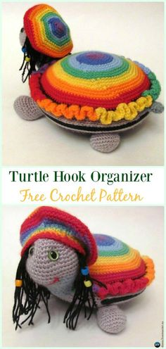 Amigurumi Crochet Turtle Hook Organizer Free Pattern - #Crochet; #Turtle; Amigurumi Toy Softies Free Patterns