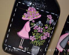 Tays Rocha: Reciclagem - Garrafas em pintura country. #artesanato #reciclagem #crafts