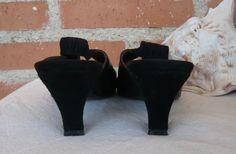 Vintage Black Leather Slingback Sandals by RemVintageFashion