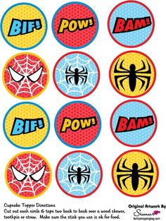 Resultado de imagem para free printable cupcake wrappers and toppers with spiderman Spider Man Party, Fête Spider Man, Spiderman Theme Party, Superhero Birthday Party, Man Birthday, Spiderman Cupcake Toppers, Cupcake Toppers Free, Cupcake Wrappers, Cupcakes For Men