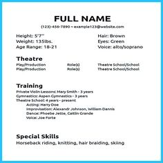 8 Best Acting Resume Images Acting Resume Template Cv Format Job