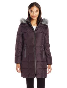 Fleet Street Ltd. Women's Down Jacket with Removable Hood, Black Plum, S -- Awesome products selected by Anna Churchill
