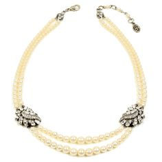 Two Row Pearl Necklace with Crystal Stations