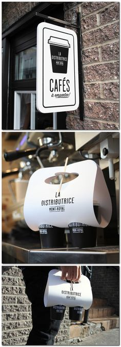 #Coffee to go...love the packaging! Very cool and more functional than a tray. #design