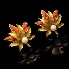 #Capri Faux #Coral #Pearls #Earrings Vintage Jewelry from #MyClassicJewelry