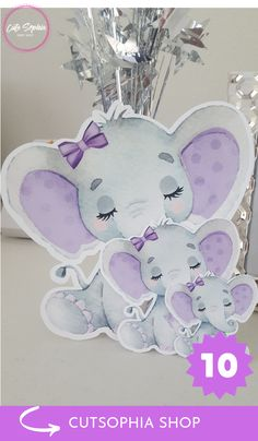 so cute cut outs for making your party awesome, 10 pieces ready to use as centerpiece, diaper cake, goody box or goody bags, any way you will have a incredible party Baby Shower Purple, Baby Girl Shower Themes, Elephant Baby Showers, Baby Elephant, Baby Shower Centerpieces, Baby Shower Decorations, Elephant Diaper Cakes, Butterfly Nursery, Purple Elephant