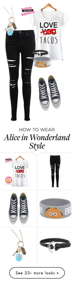 """Tacos!"" by lindseyapickle on Polyvore featuring Miss Selfridge, Converse and Disney"