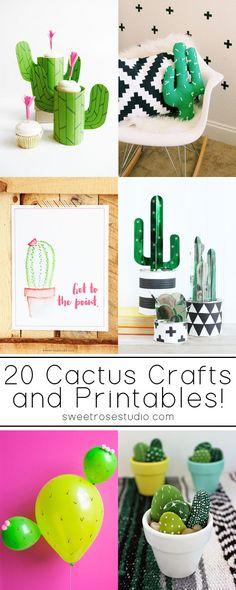 20 Cactus Crafts and Printables at Sweet Rose Studio