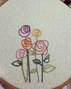 I doodle flowers like this ... but never thought of making them into embroidery.  Doh!