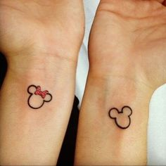 Mickey and Minnie Mouse ❤ liked on Polyvore featuring tattoos, tat and pierce and tattoos and piercings
