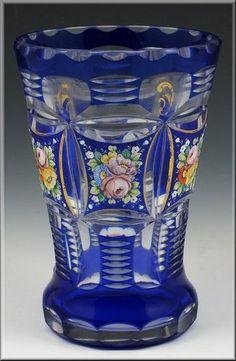 19th C Bohemian Cobalt Cut Overlay Glass Spill Vase w/ Enamel Flowers
