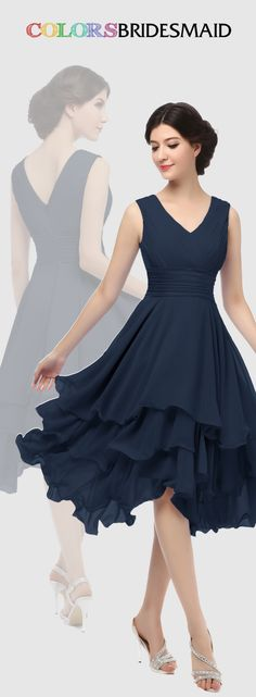 This short chiffon navy blue bridesmaid dress with tiered ruffles skirt is sold . This short chiffon navy blue bridesmaid dress with tiered ruffles skirt is sold under Custom made to all sizes. Trendy Dresses, Elegant Dresses, Vintage Dresses, Beautiful Dresses, Nice Dresses, Casual Dresses, Short Dresses, Formal Dresses, Short Skirts