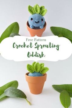 Create your own DIY amigurumi pattern creating your own sprouting Oddish from Pokemon with this free crochet pattern!