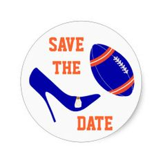 Royal Blue and Orange Football Themed Envelope Seal Round Sticker