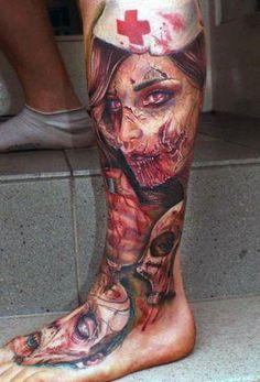 tatuaże 3d zombi na nodze