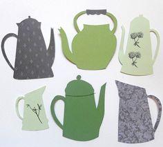 paper cut, collage, pattern, design, illustration, kettle, jug, jar, colour, print