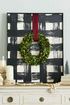Add a touch of farmhouse style to your Christmas decor with this oversize DIY buffalo check art. Add a touch of farmhouse style to your Christmas decor with this oversize DIY buffalo check art. Christmas Mantels, Plaid Christmas, Winter Christmas, Christmas Wreaths, Christmas Ideas, Red Black White Christmas, Christmas Gifts, Christmas Wood, Farmhouse Christmas Decor