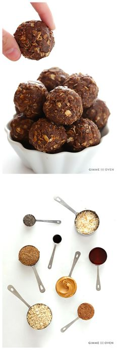 Chocolate Peanut Butter Energy Bites -- naturally-sweetened with honey, super easy to make, and SO tasty!
