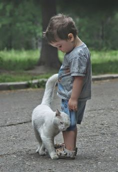 This so precious to see this boy with that cat