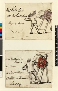 Illustrated philatelic envelopes. Created by Edward Burne-Jones, and now in the collections of the British Museum.
