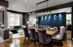 Tufted wall adds color and drama to the banquette 11 Trendy Rooms with Tufted Wall Panels