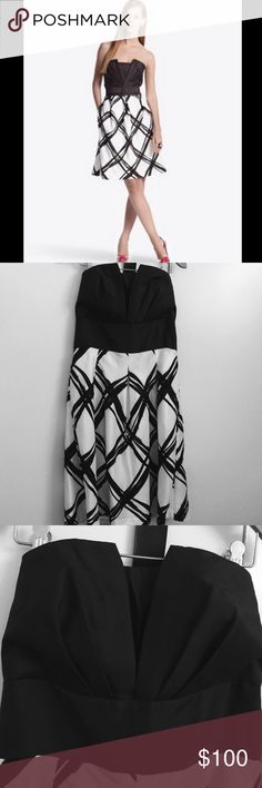 NWT White House Black Market Silk Dress Strapless dress with belt and comes with removable straps// 100% silk// dry clean// size 10//  measurements aprox. Waist 31in, bust 34 in, length 31in. White House Black Market Dresses Strapless