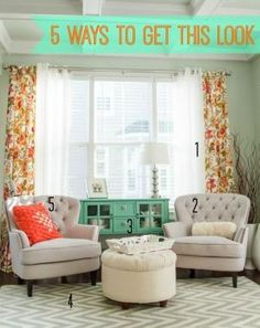 I love the bright and pastel colors to bring in the feel of spring. If you like this pretty sitting room, you'll love these ideas for getting the look for less! | Infarrantly Creative by cecile